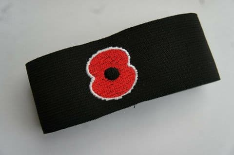 11 x Embroidered Adult Poppy Arm Bands Football Sport Donation to British Legion